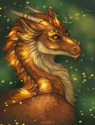 Flaming dragon by Raxrie
