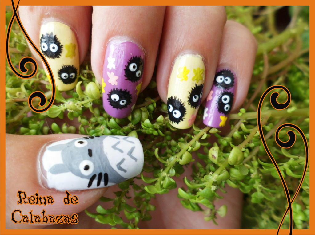 Totoro and Soot sprites nail art by anubis-pumpkinqueen