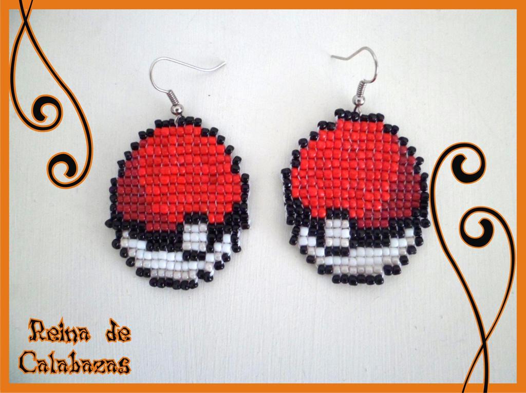 Pokeball earrings by anubis-pumpkinqueen