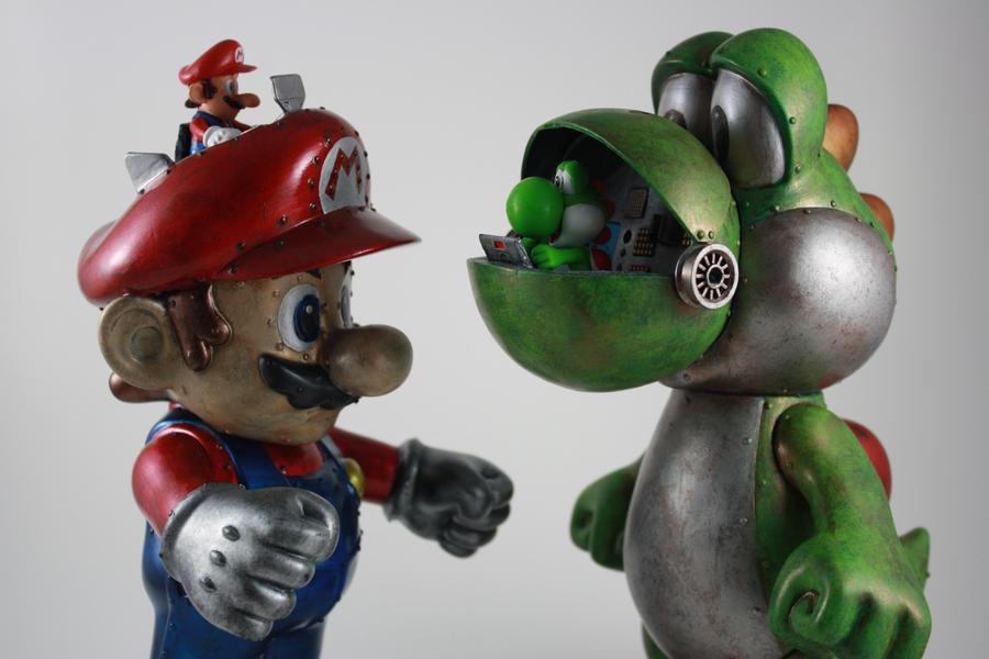 Realistic Yoshi Mario and Yoshi Mech by