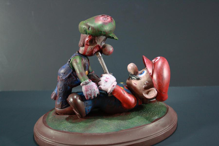 Zombie Luigi vs Mario by kodykoala
