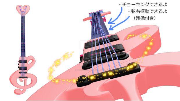 mmd pink music guitar for dl by sakura-nice