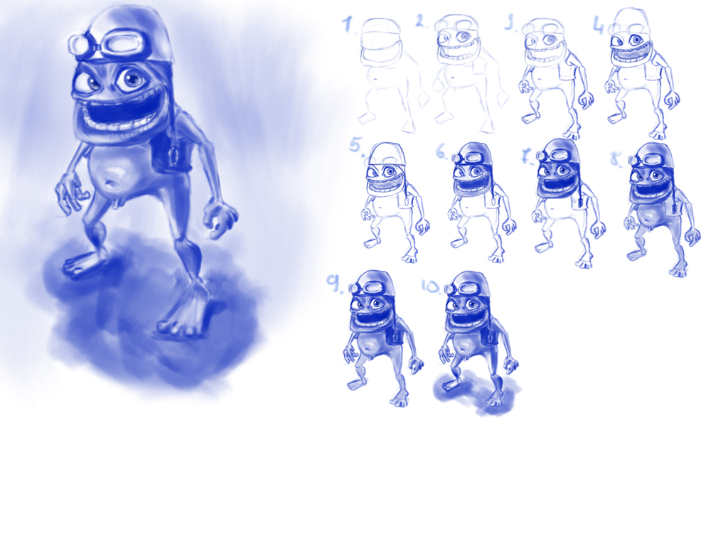 how to draw crazy frog
