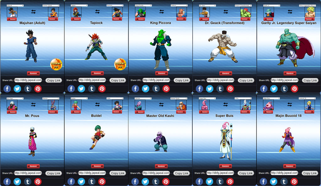 My Fusions from Dragon Ball Fusion Generator by JokuSSJ on