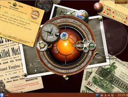 Steampunk Linux Plasmoid Kubuntu Desktop by yereverluvinuncleber