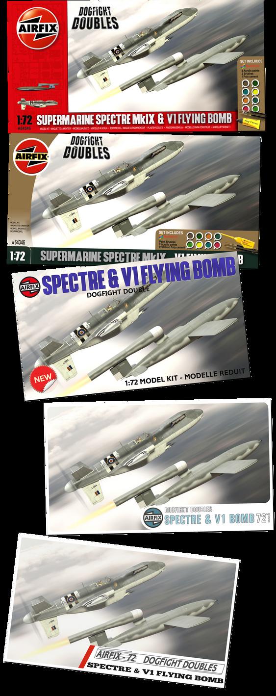 Airfix Supermarine Spectre and V1 Flying Bomb by yereverluvinuncleber