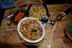 Pheasant Casserole with a sword