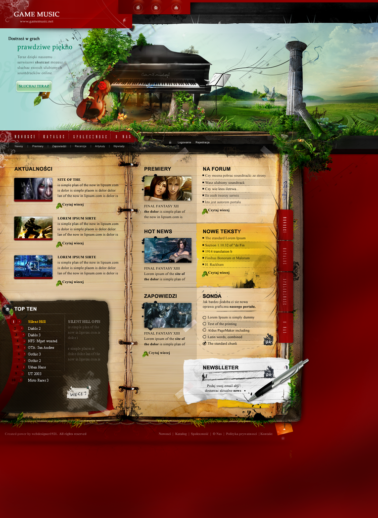 game webdesign template