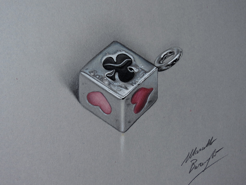 Card Suit Pendant DRAWING by Marcello Barenghi by marcellobarenghi