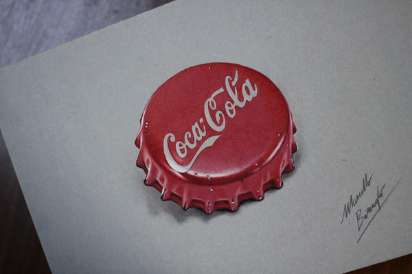 Cocacola red bottle cap DRAWING by marcellobarenghi