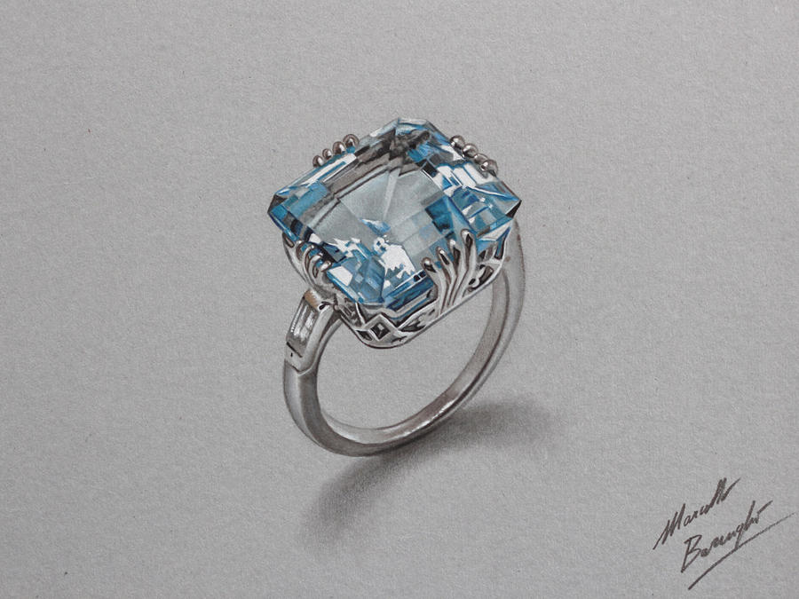 Aquamarine ring DRAWING by Marcello Barenghi by marcellobarenghi