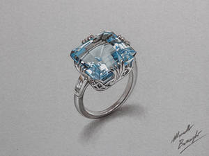 Aquamarine ring DRAWING by Marcello Barenghi