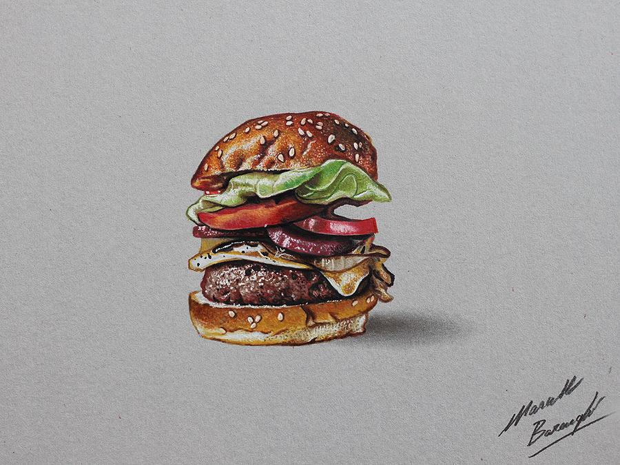 Hamburger DRAWING by marcellobarenghi