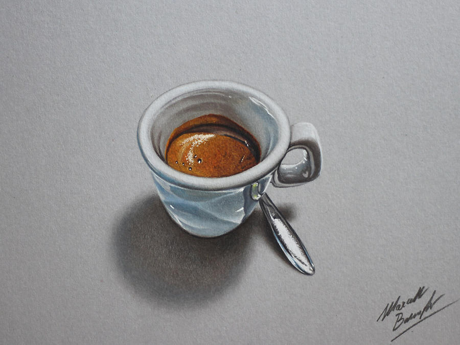 A cup of Espresso, realistic drawing by marcellobarenghi