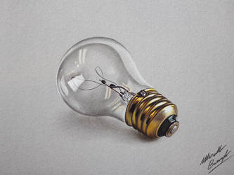 Lightbulb realistic drawing by marcellobarenghi
