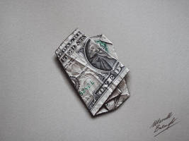 Folded One Dollar DRAWING by Marcello Barenghi by marcellobarenghi