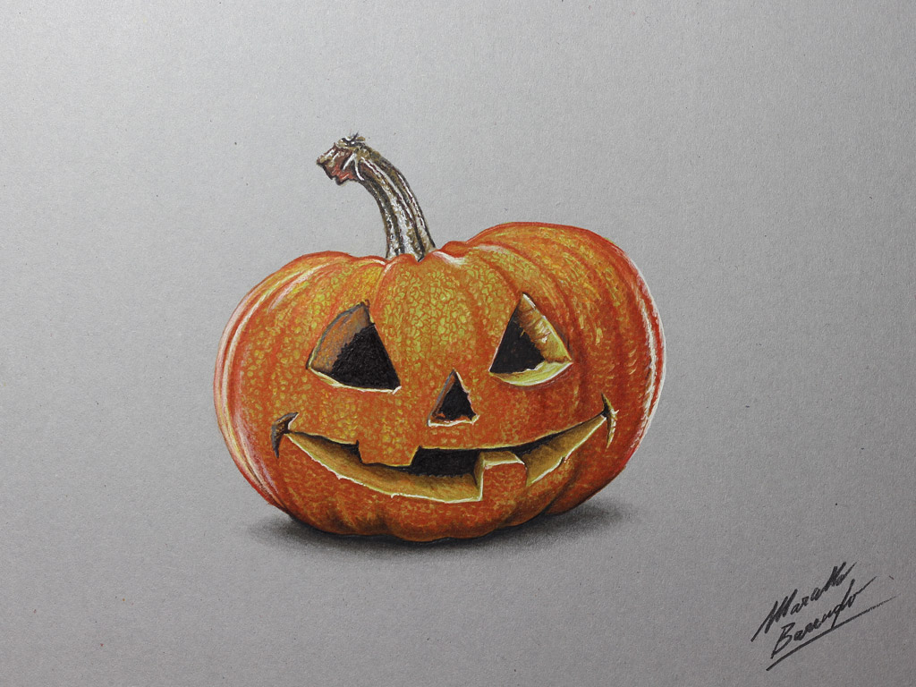 A carved pumpkin for Halloween drawing by marcellobarenghi