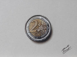 2 euro coin DRAWING by Marcello Barenghi by marcellobarenghi