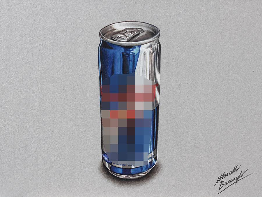 Red Bull can DRAWING by Marcello Barenghi by marcellobarenghi