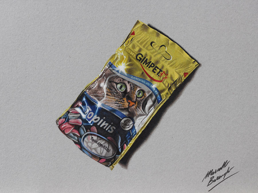 Cat's snack DRAWING by marcellobarenghi