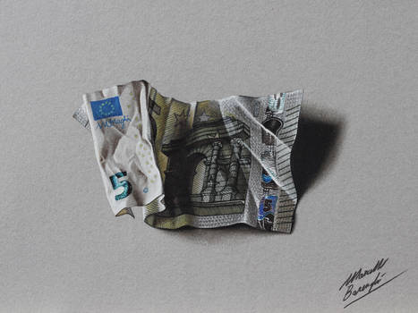 5 Euro Note DRAWING By Marcello Barenghi Marcellobarenghi