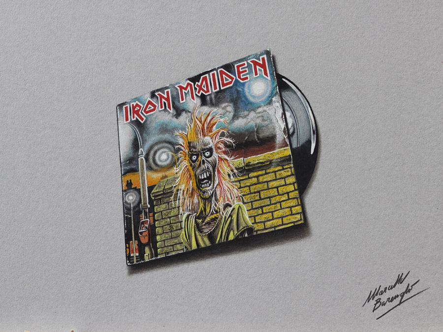 Iron Maiden DRAWING cover and vinyl by marcellobarenghi