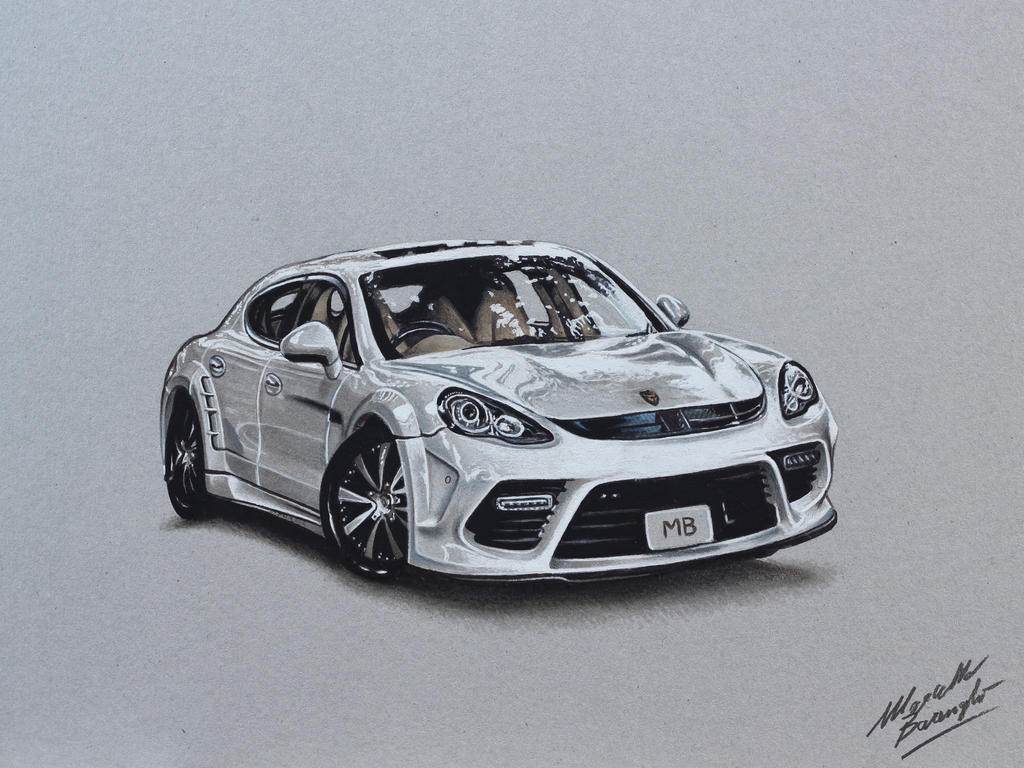Porsche Panamera DRAWING by Marcello Barenghi by marcellobarenghi