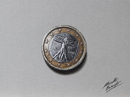 1 euro coin DRAWING by Marcello Barenghi by marcellobarenghi