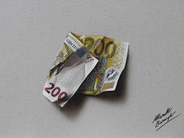 200 euro note DRAWING Marcello Barenghi by marcellobarenghi