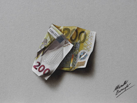 200 euro note DRAWING Marcello Barenghi