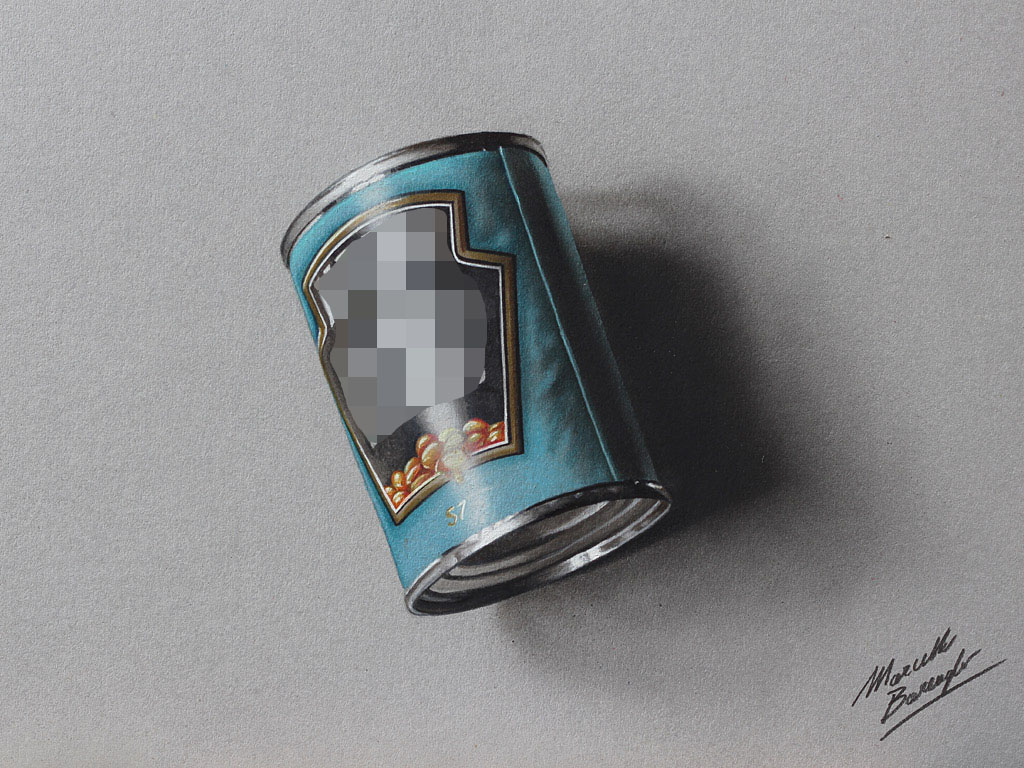 A can of beans - drawing by marcellobarenghi