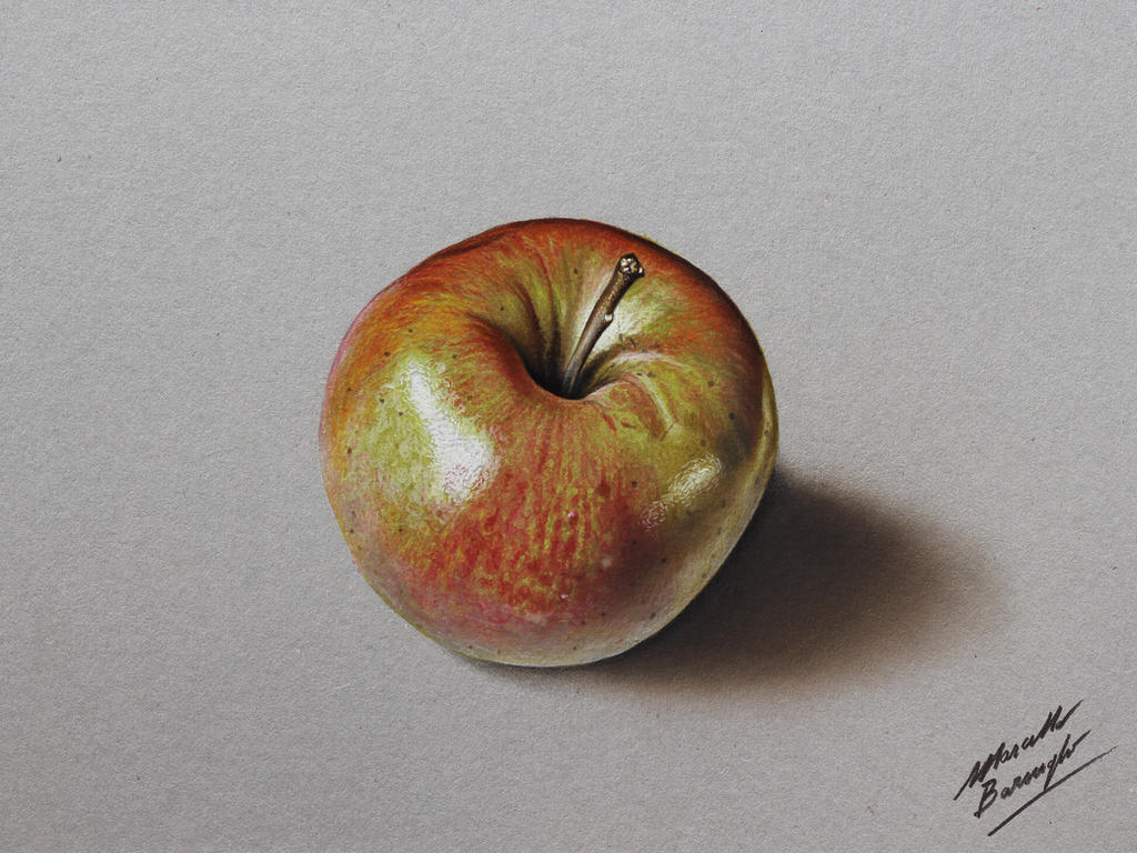 Shiny Apple DRAWING by Marcello Barenghi by marcellobarenghi