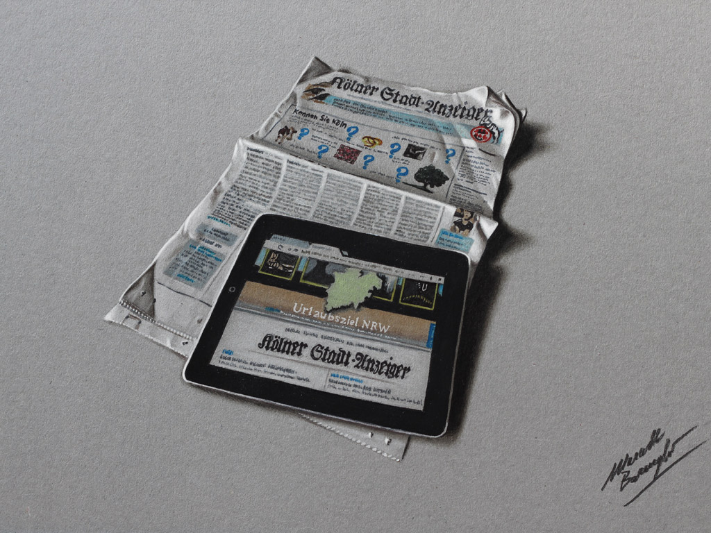 IPad and newspaper DRAWING by Marcello Barenghi by marcellobarenghi