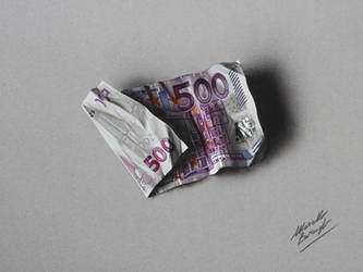 500 euro note DRAWING by Marcello Barenghi by marcellobarenghi