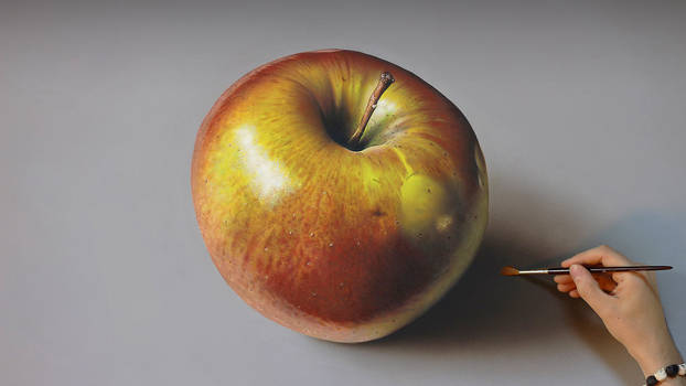 Apple PAINTING on canvas by Marcello Barenghi