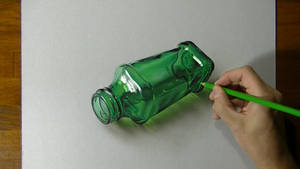 Drawing a green bottle