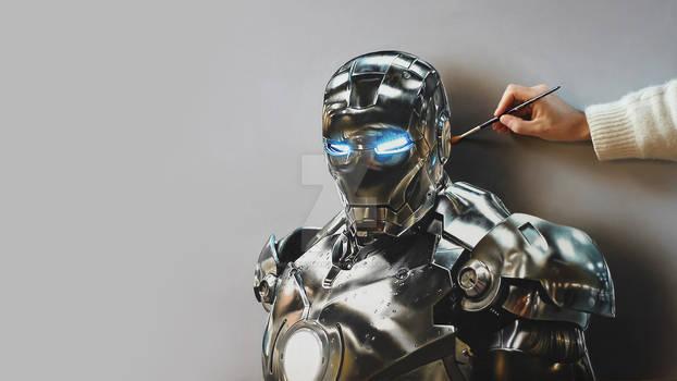Iron Man Portrait - Painting on canvas