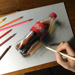 Drawing Coca-Cola plastic bottle