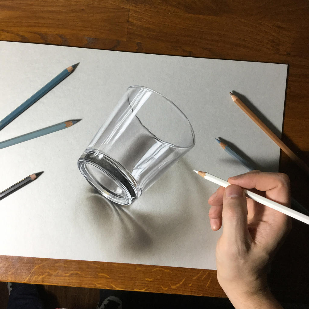 3d Drawing Of A Simple Glass By Marcellobarenghi On Deviantart