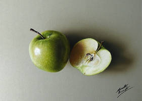 My drawing of a green apple and a half by marcellobarenghi
