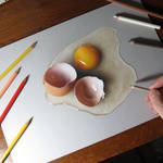 My drawing of a broken egg