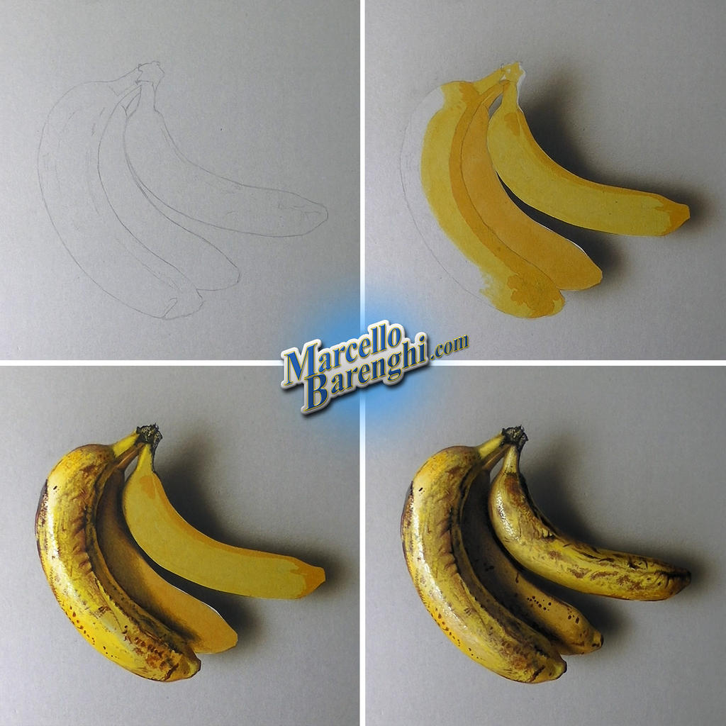 Drawing Bananas - step by step by marcellobarenghi