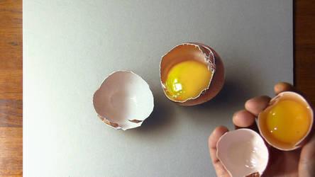 Drawing vs Life - Broken egg by marcellobarenghi