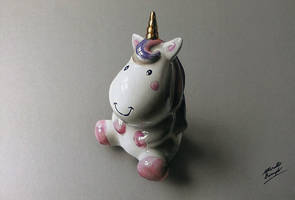 My drawing of a porcelain Unicorn - 3h 40m