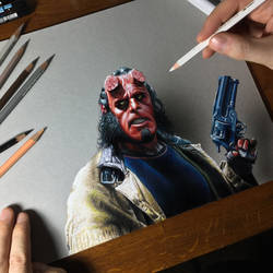 Hellboy portrait by marcellobarenghi