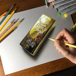 Traditional Drawing: Gold Bar / Self Portrait