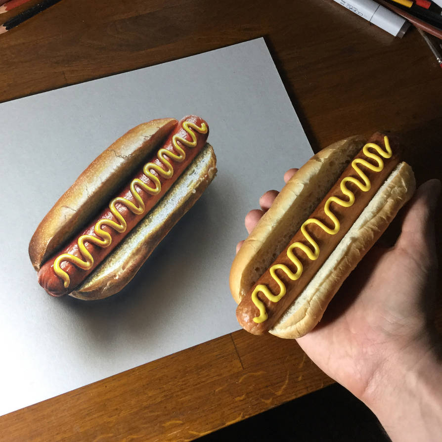 My Drawing And The Real Hot Dog By Marcellobarenghi On Deviantart