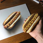 My drawing and the real hot dog