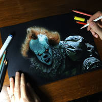 Pennywise Drawing on Black Paper