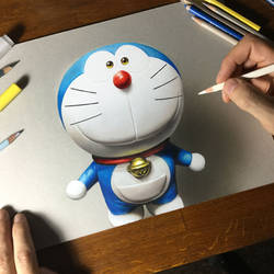 Doraemon portrait - fan art drawing